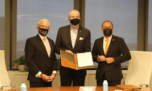 From left, New Jersey Institute of Technology president Joel S. Bloom, New Jersey Governor Phil Murphy, and Ben Gurion University of the Negev president Daniel Chamovitz.